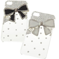 Transparent Metal Butterfly Bow Bling Back Case Cover For iPhone 4G 4S New