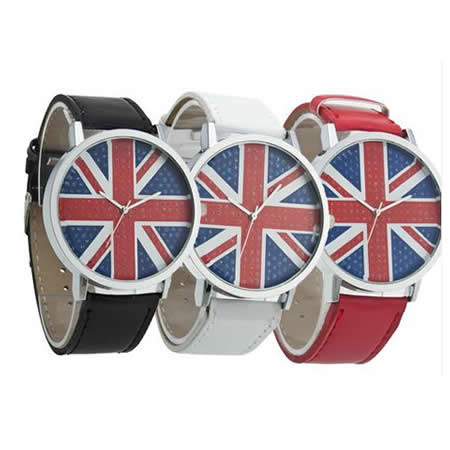 New Fashion Round Quartz Woman Lady Girl Wrist Watch UK National Flag 3 Color