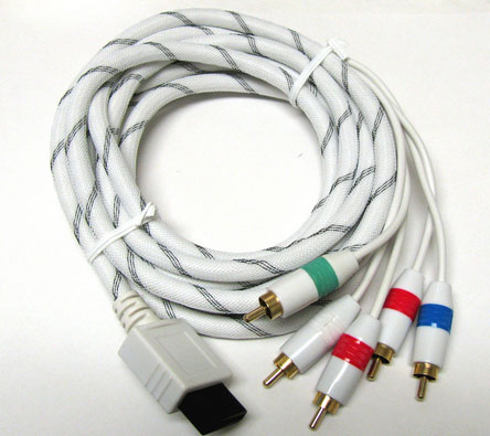 Component HDTV AV Audio Video 5RCA Adapter WHITE Cable 4 Nintendo Wii 6FT NEW